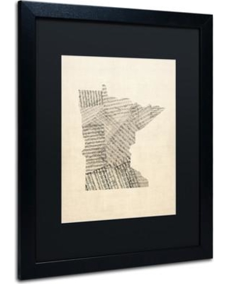 """Red Barrel Studio 'Old Sheet Music Map of Minnesota' Framed Graphic Art on Canvas RDBS1099 Size: 20"""" H x 16"""" W x 0.5"""" D"""