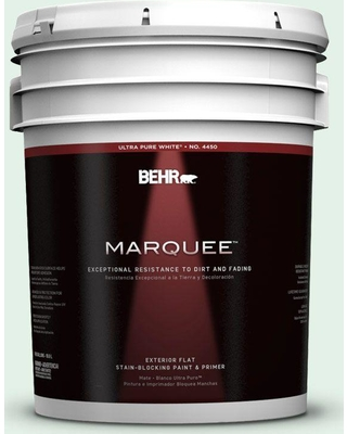 BEHR MARQUEE 5 gal. #470C-1 Mint Fizz Flat Exterior Paint and Primer in One
