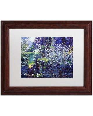 "Trademark Art 'Tangled White Flowers' by David Lloyd Glover Matted Framed Print on Canvas DLG0345-B1114MF / DLG0345-B1620MF Size: 11"" H x 14"" W x 0.5"" D Frame Color: Brown"