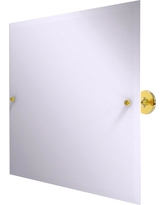Allied Brass Shadwell Collection Frameless Landscape Rectangular Tilt Mirror with Beveled Edge in Polished Brass
