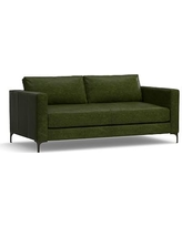 "Jake Leather Loveseat 70"", Down Blend Wrapped Cushions, Leather Legacy Forest Green"