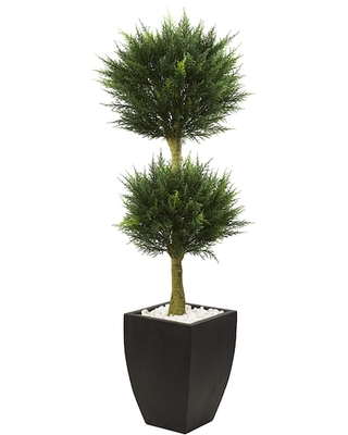 4.5Ft Cypress Topiary in Black Planter By Nearly Natural   Michaels®