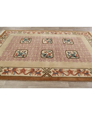 """One-of-a-Kind Hand-Knotted 1980s ArtDeco Brown/Beige 6'1"""" x 9'3"""" Wool Area Rug"""