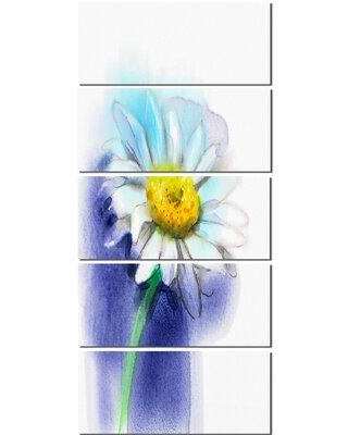 Design Art White Gerbera Daisy in Blue 5 Piece Painting Print on Wrapped Canvas Set PT10306-401V