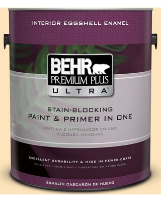 BEHR ULTRA 1 gal. #BIC-28 Butter Creme Eggshell Enamel Interior Paint and Primer in One