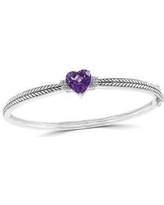 Effy Silver 1/10 ct. t.w. Diamond and 3.2 ct. t.w. Amethyst Bangle Bracelet in 925 Sterling Silver