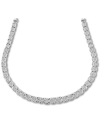 """Diamond Necklace 1/3 ct tw Round-cut Sterling Silver 18.75"""""""