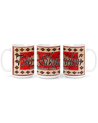 Tsin Sikaadnii (Clumped Tree People) Navajo Clan with Red Rug Background on 15 Ounce White Coffee Mug