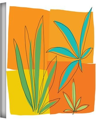 """ArtWall 'Grasses II' by Jan Weiss Print of Painting on Wrapped Canvas janw-040 Size: 36"""" H x 36"""" W"""
