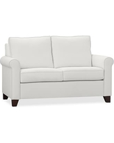 "Cameron Roll Arm Upholstered Loveseat 62.5"", Polyester Wrapped Cushions, Denim Warm White"