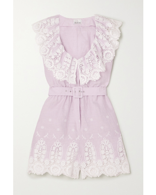 MIGUELINA - Charli Belted Crocheted Cotton And Linen Playsuit - Purple