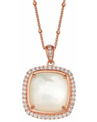 """""""14k Rose Gold Over Silver Mother of Pearl Cushion Pendant Necklace, Women's, Size: 18"""", White"""""""