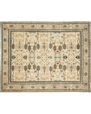 One-of-a-Kind Romona Hand-Knotted Ivory Blue/Gold Area Rug Isabelline