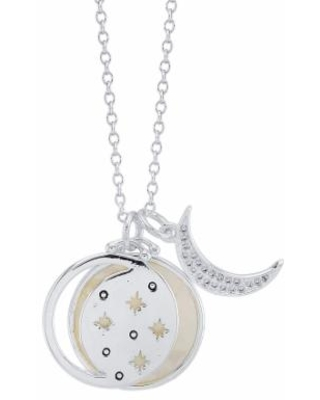 """""""LovethisLife Mother of Pearl Inlay Moon & Stars Necklace, Women's, Size: 18"""", Silver"""""""