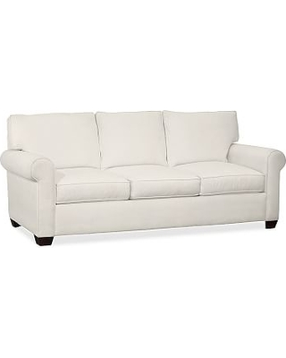 Buchanan Roll Arm Upholstered Deluxe Sleeper Sofa, Polyester Wrapped Cushions, Denim Warm White