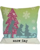 One Bella Casa Snow Day Sled Throw Pillow 71736PL18