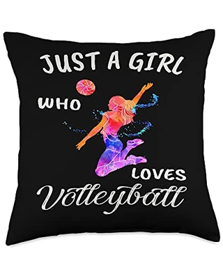 TeePrincess Cute Art Watercolor Just A Girl Who Loves Volleyball Throw Pillow, 18x18, Multicolor