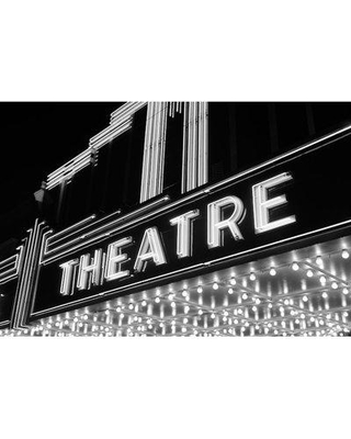 """East Urban Home '1930s-1940s Theater Marquee Theatre in Neon Lights' Photographic Print on Wrapped Canvas ERNI3965 Size: 12"""" H x 18"""" W x 1.5"""" D"""