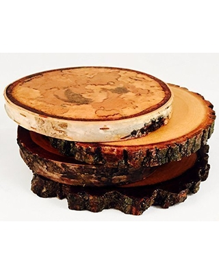 Variety Pack Natural Tree Wood Coasters with Bark (4-Pack)