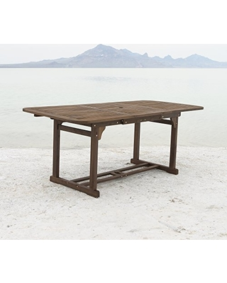Amazing Deal WE Furniture Solid Acacia Wood Patio Extendable Dining