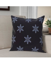 """The Holiday Aisle Flurries Decorative Holiday Print Throw Pillow HLDY5953 Color: Navy Blue, Size: 26"""" H x 26"""" W"""
