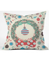 Deny Designs Sam Osborne Christmas Wreath Throw Pillow 51697-thrpi Size: Medium