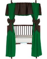 Baby Doll Bedding 12 Piece Solid Reversible Round Crib Curtain and Valance Set 500rcc12 Curtain Color: Brown/Green