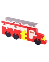 veZve Wooden Jigsaw Puzzle for Toddlers Kids 5 to 7 Years Old Boys Toy, Fire Engine