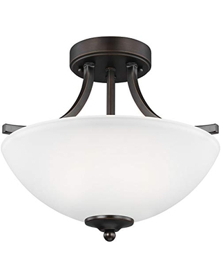 Sea Gull Lighting Generation 7716502EN3-710 Transitional Two Light Semi-Flush Convertible Pendant from Seagull-Geary Collection in Bronze/Dark Finish, Small, Burnt Sienna