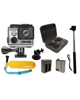 Super Bundle Linsay X-9000A 4k Action Camera with Case, Battery, Stick Hold and Mount, One Size , Silver