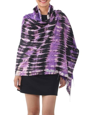 Handwoven Black and Purple Tie-Dye Silk Shawl from Thailand