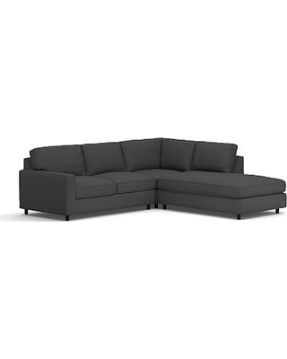 PB Comfort Square Arm Upholstered Left 3-Piece Bumper Sectional, Box Edge Down Blend Wrapped Cushions, Premium Performance Basketweave Charcoal