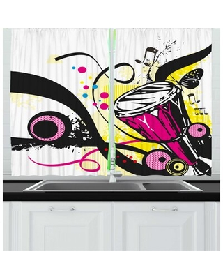 2 Piece Drums Retro Musical Items and Artwork of Strokes Polka Dots Butterflies Kitchen Curtain Set East Urban Home