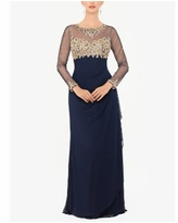 Xscape Embellished Ruched Gown - Navy/Gold