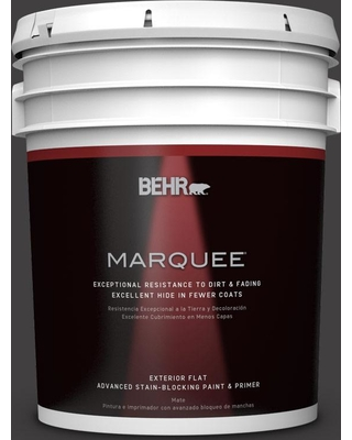BEHR MARQUEE 5 gal. #N510-7 Blackout Flat Exterior Paint and Primer in One