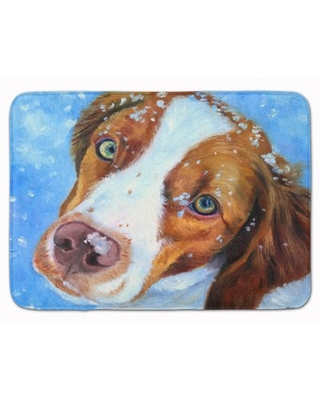 Brittany Spaniel Snow Baby Rectangle Microfiber Non-Slip Bath Rug East Urban Home