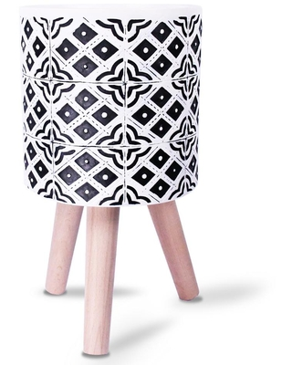 KANTE 16 in. Tall Black and White Lightweight Concrete Classic Outdoor/Indoor Cylindrical Planter with 3 Wooden Legs