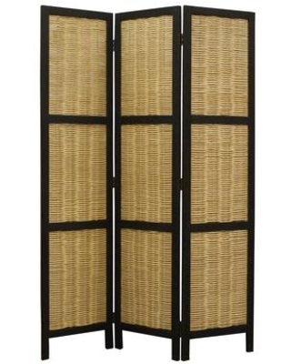 BM26578 Cottage Style 3 Panel Room Divider with Willow Weaving Black and