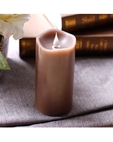 3D Moving Flame Led Candle With Timer by Simplux,3x5 Inch,Brown