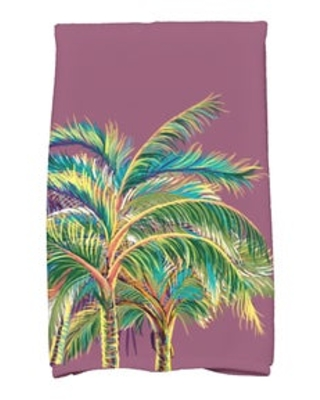 16 x 25-inch, Vacation, Floral Print Kitchen Towel (Purple)
