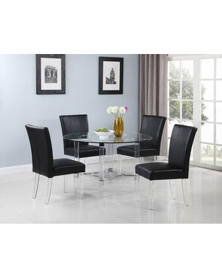 4038-5PC-BLK Contemporary Dining Set with Round Glass Dining Table and Parson Chairs in