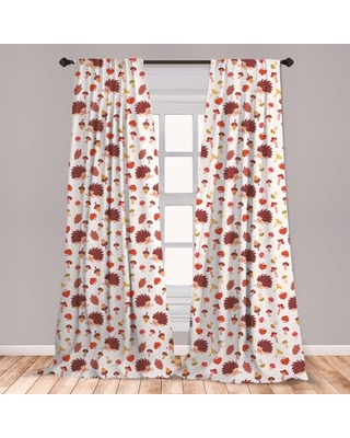 Ambesonne Mushroom 2 Panel Curtain Set, Autumn Inspired Pattern With Natural Elements Hedgehogs Acorns And Apples, Lightweight Window Treatment Living