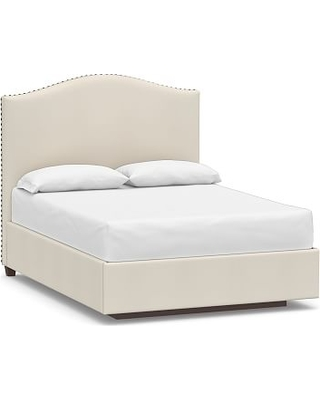 Raleigh Upholstered Curved Tall Headboard with Footboard Storage Platform Bed, Bronze Nailheads, Full, Twill Cream
