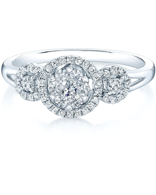 14K White Gold Round Cut Diamond (0.33 ct. t.w) Halo Engagement Ring, Size 7 (Clear - 7 - White)
