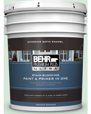 BEHR ULTRA 5 gal. #M410-1 Jade Mist Satin Enamel Exterior Paint and Primer in One