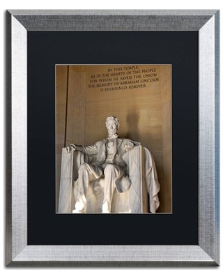 "Trademark Fine Art ""Lincoln Memorial 2"" Canvas Art by CATeyes, Black Matte, Silver Frame"