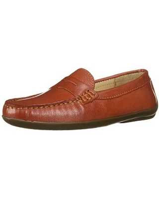 Driver Club USA Unisex Leather Made in Brazil Naples 2.0 Penny Driver Loafer, Orange Everest, 1 M US Little Kid