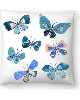 "East Urban Home Liz and Kate Pope Butterflies Throw Pillow EBIC1704 Size: 16"" x 16"""