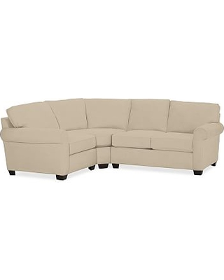 Buchanan Roll Arm Upholstered Right Arm 3-Piece Sectional, Polyester Wrapped Cushions, Performance Everydayvelvet(TM) Buckwheat