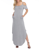 White Mark Lexi Short Sleeve Maxi Dress, Small , Gray